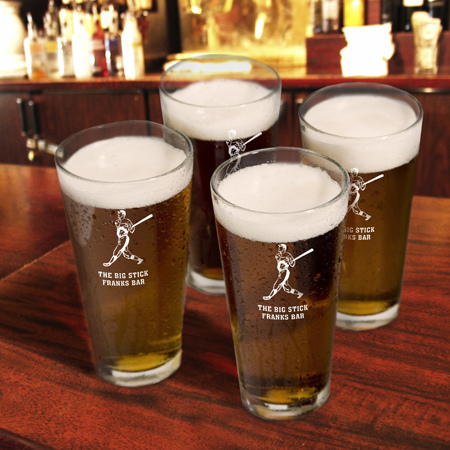JDS Personalized Sports Icon Pint Glasses: Set of 4