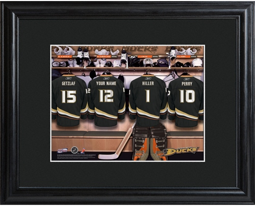 JDS Personalized Print with Wood Frame: NHL Locker Room