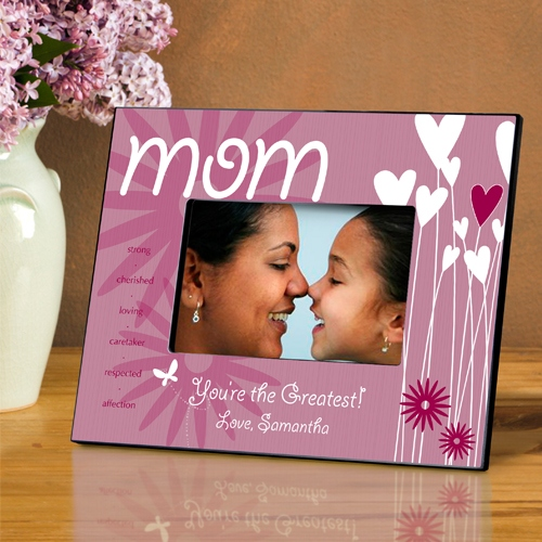 JDS Personalized Picture Frame: Hearts and Flowers