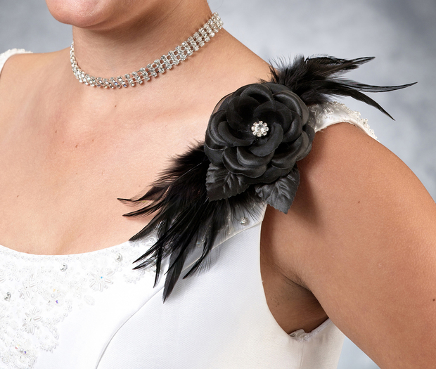 Lillian Rose Flower & Feather Clip/Pin - Black