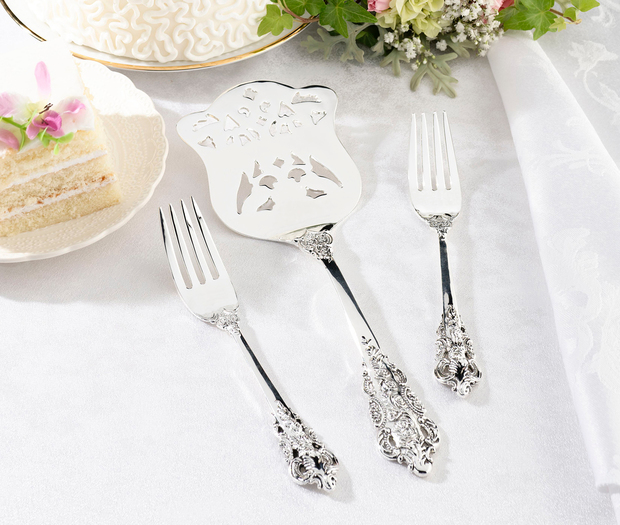 Lillian Rose Silver Server & Two Forks