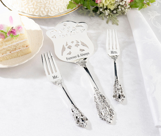 Lillian Rose Silver Server & Two Forks - Mr. & Mrs.