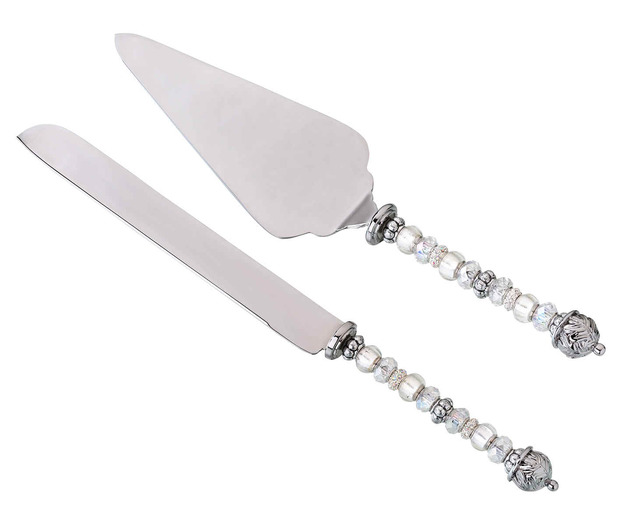 Lillian Rose Beaded Knife & Server-Silver