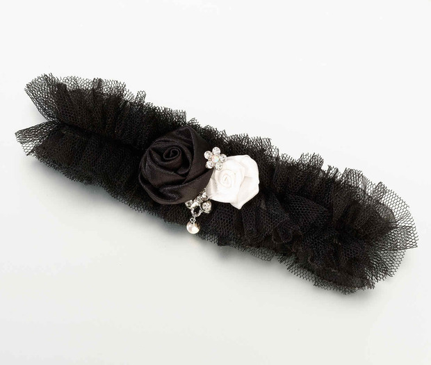 Lillian Rose Tulle Garter with Jewel - Black