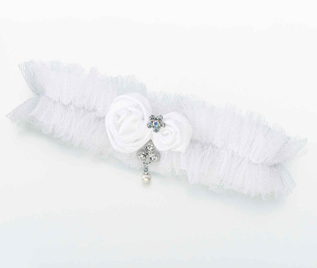 Lillian Rose Tulle Garter with Jewel - White