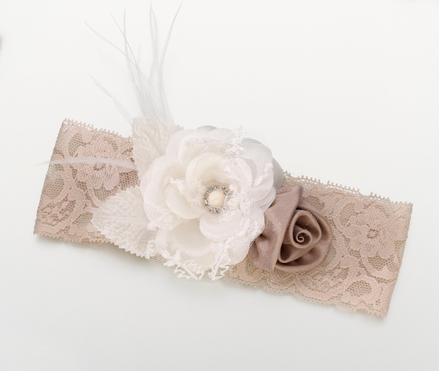 Lillian Rose Vintage Wide Garter - Taupe