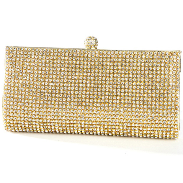 Mariell Gold Evening Bag with Bezel Set Crystals