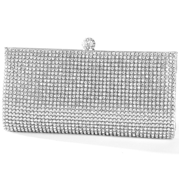 Mariell Silver Evening Bag with Bezel Set Crystals