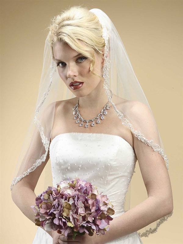 Mariell Rhinestone Edge Mantilla Wedding Veil with Floral Applique