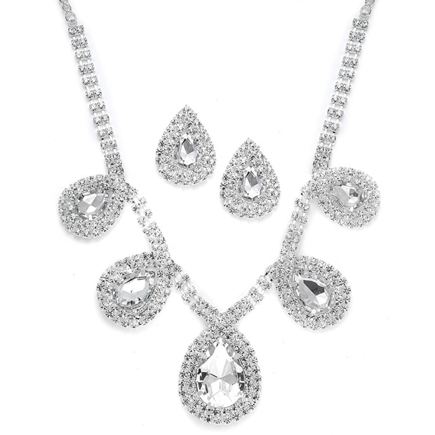 Mariell Rhinestone Necklace Set with Bold Pears