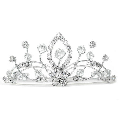 Mariell Lacy Crystal Spray Tiara Comb