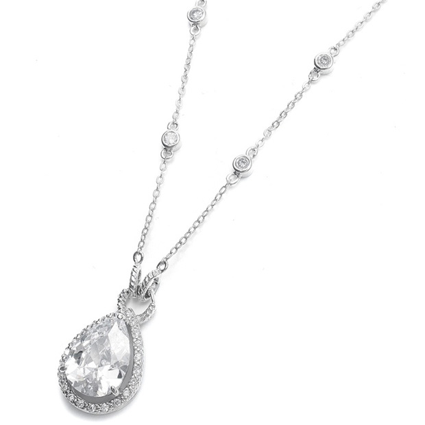 Mariell Large CZ Pear Drop Bridal Necklace