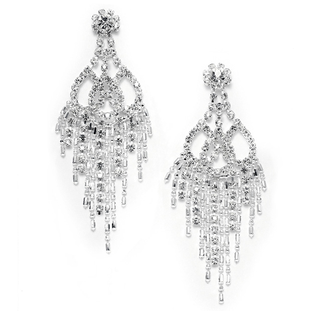 Mariell Rhinestone & Beads Prom Chandelier Earrings