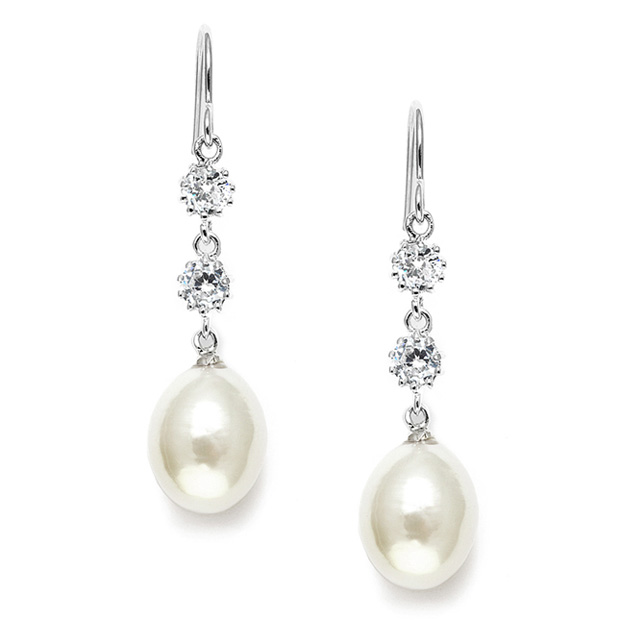 Mariell Freshwater Pearl and Cubic Zirconia Dangle Wedding Earrings