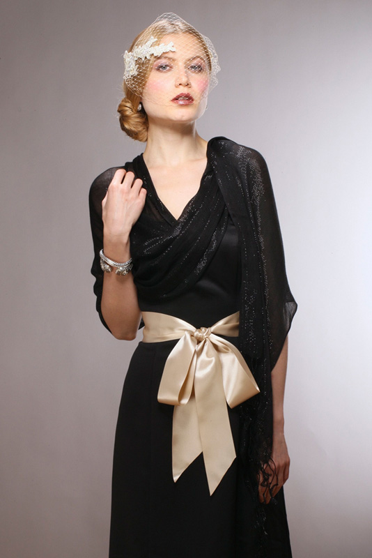 Mariell Luxurious Black Mesh Evening Or Prom Shawl