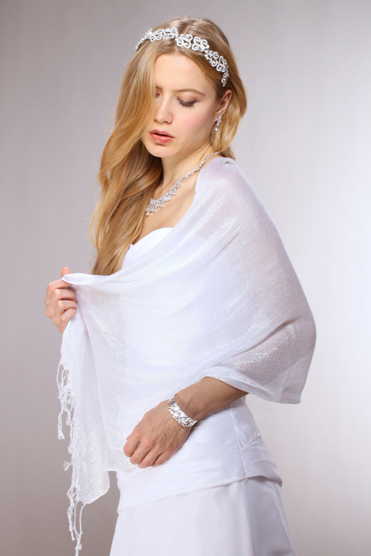 Mariell Luxurious White Mesh Wedding Or Prom Wrap