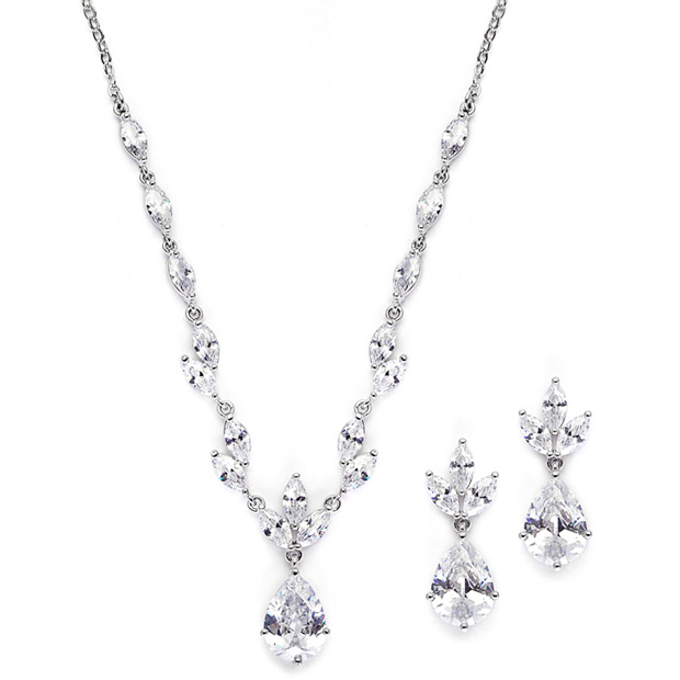 Mariell Cubic Zirconia Bridal Neck Set with Pears & Marquise