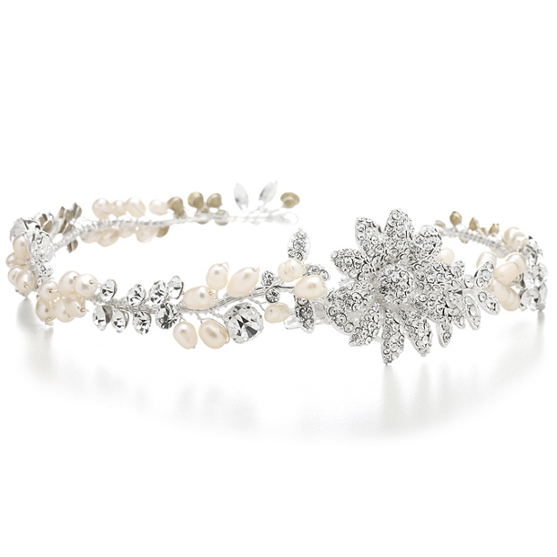 Mariell Designer Wedding Tiara Hair Vine Or Headband in Freshwater Pearls