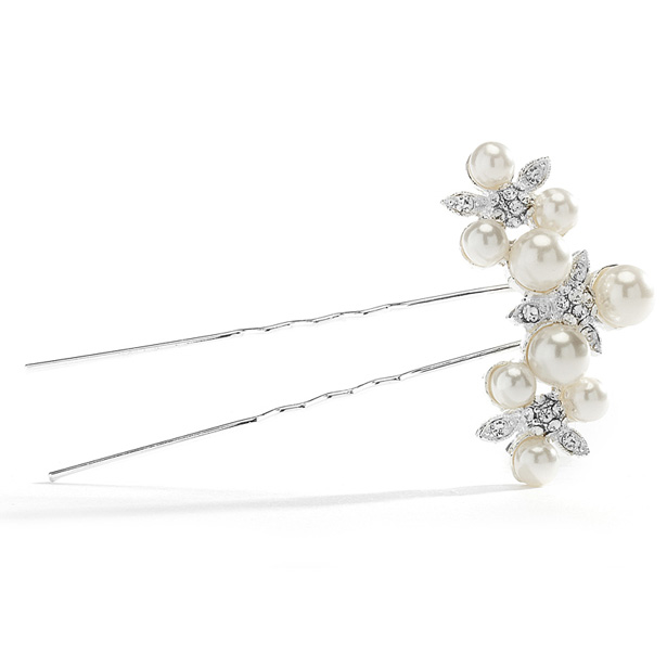 Mariell floral Trio Wedding Hair Pin with Crystals & Pearls