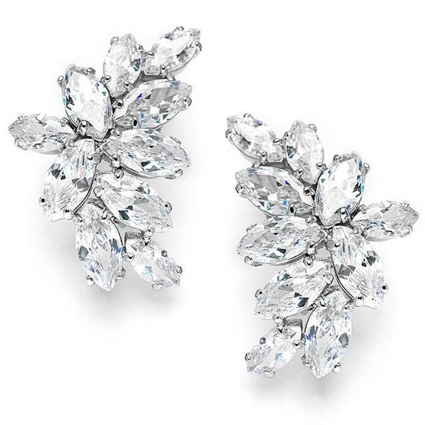 Mariell Clip-On Cubic Zirconia Marquis Cluster Earrings