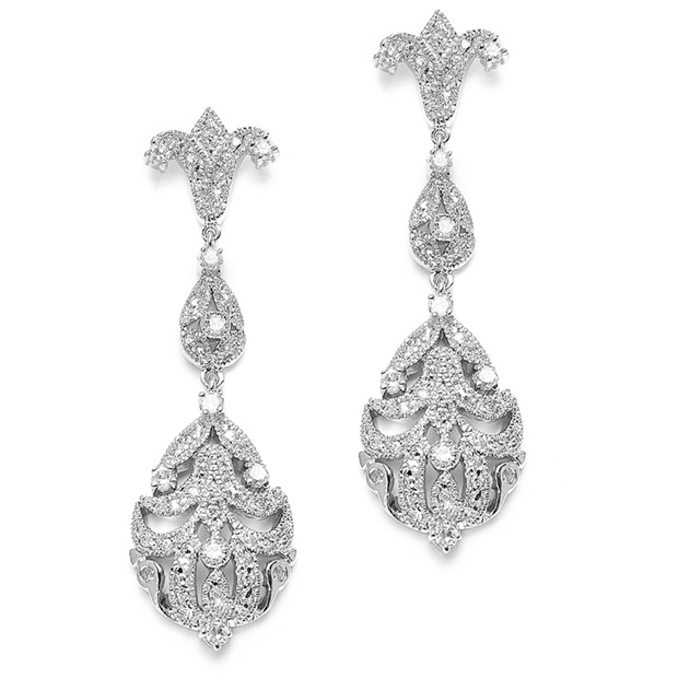 Mariell Opulent Vintage Cubic Zirconia Wedding Earrings