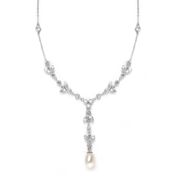 Mariell Freshwater Pearl & Cubic Zirconia Tulip Wedding Necklace
