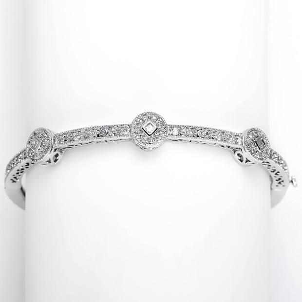 Mariell Vintage Wedding Cubic Zirconia Bangle Bracelet