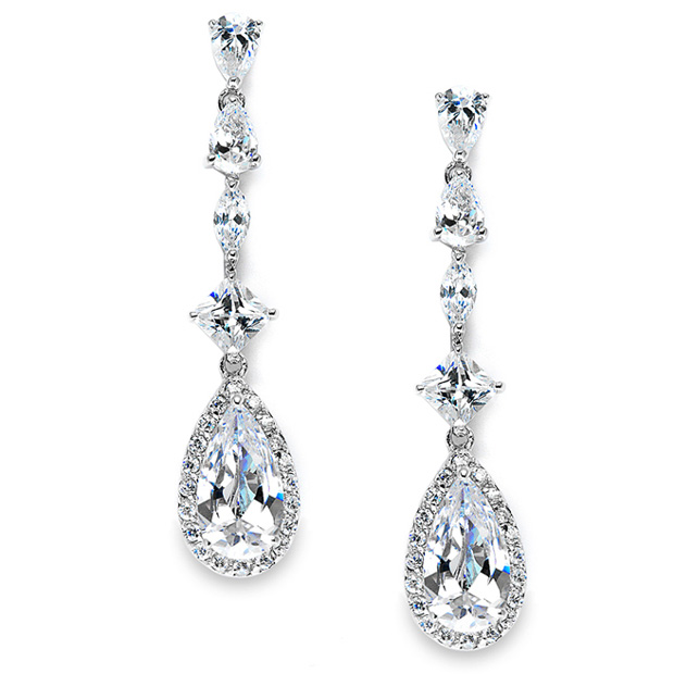 Mariell Slender Teardrop Wedding Or Prom CZ Dangle Earrings