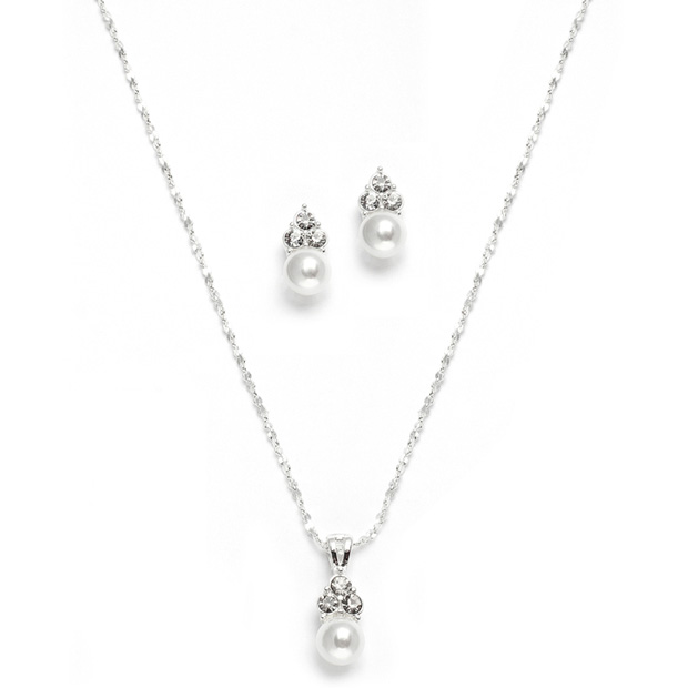 Mariell White Pearl & Crystal Wedding Necklace & Earrings