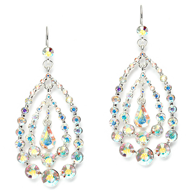 Mariell Concentric AB Crystal Teardrops Dangle Earrings