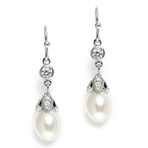 Mariell Vintage Wedding Earrings with Oval Pearl Drops