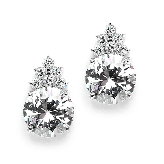 Mariell Bold Round CZ Bridal Or Bridesmaid Earrings with CZ Accents