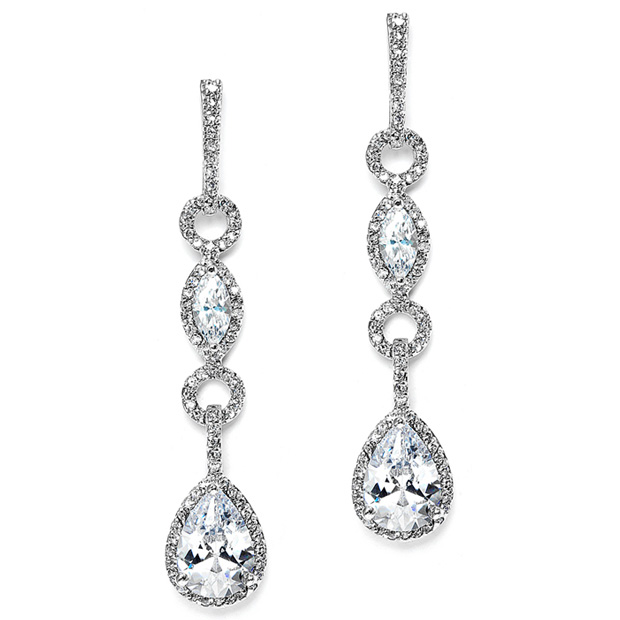 Mariell Glamorous Linear Pave Cubic Zirconia Wedding Earrings