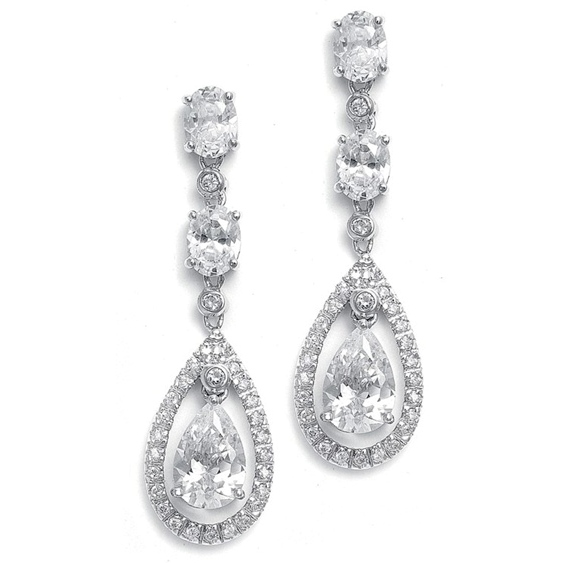 Mariell Dangle Wedding Earrings with Caged CZ Pear