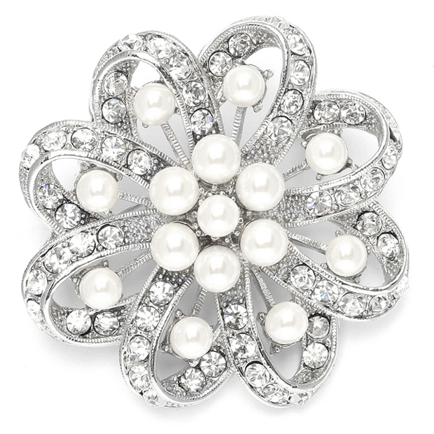Mariell Regal Crystal & Pearl Swirl Vintage Wedding Brooch