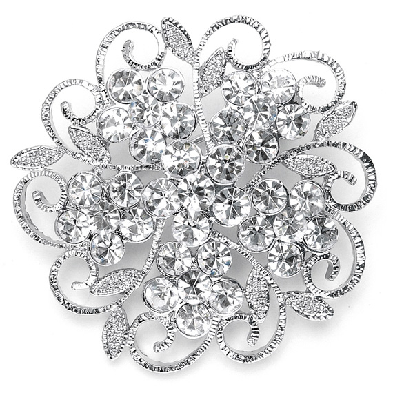 Mariell Filigree Crystal flower Wedding Or Prom Pin