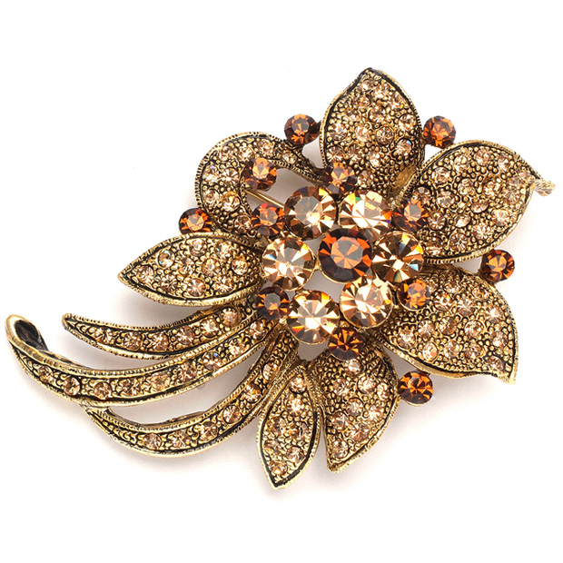 Mariell Light Colorado Topaz Floral Special Occasion Pin