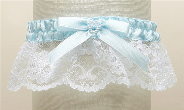 Mariell White Lace Something Blue Wedding Garter with Pearl Heart