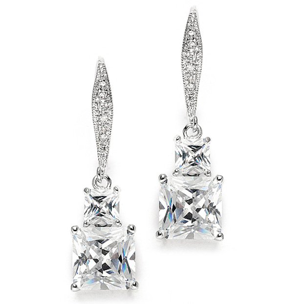 Mariell Princess Cut CZ Vintage Wedding Or Bridesmaids Drop Earrings