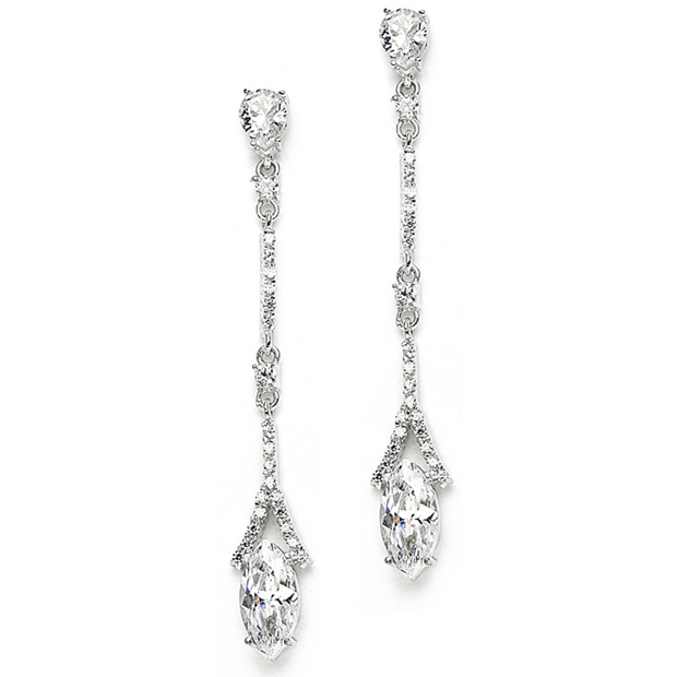 Mariell Delicate Cubic Zirconium Linear Wedding Or Bridesmaids Earrings