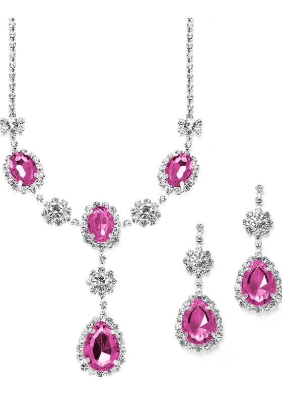 Mariell Rhinestone Prom & Bridesmaid Necklace Set with Fuchsia Teardrops