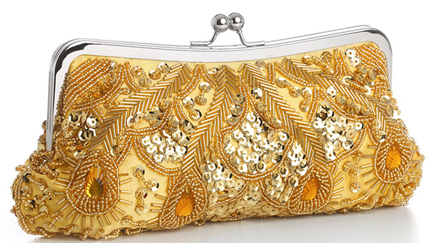 Mariell Gold Multi Evening Bag with Beads, Sequins & Gems