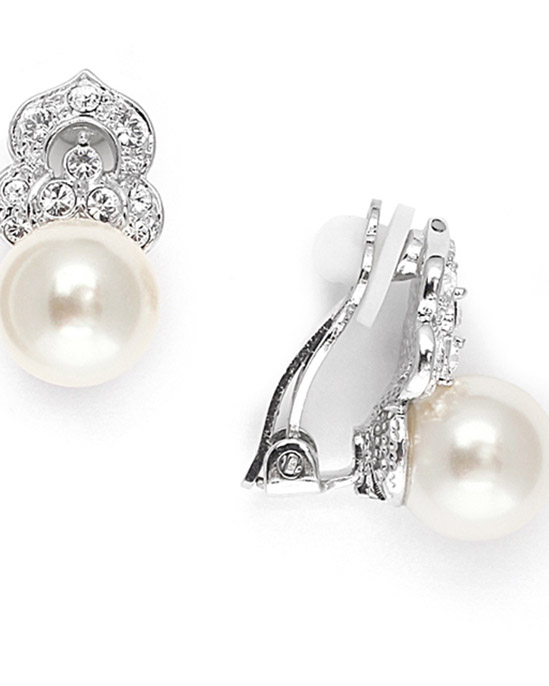 Mariell Cubic Zirconia & Soft Cream Pearl Clip-On Wedding Earrings