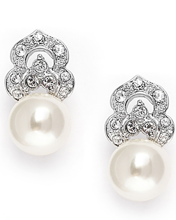Mariell Cubic Zirconia & Soft Cream Pearl Vintage Wedding Earrings