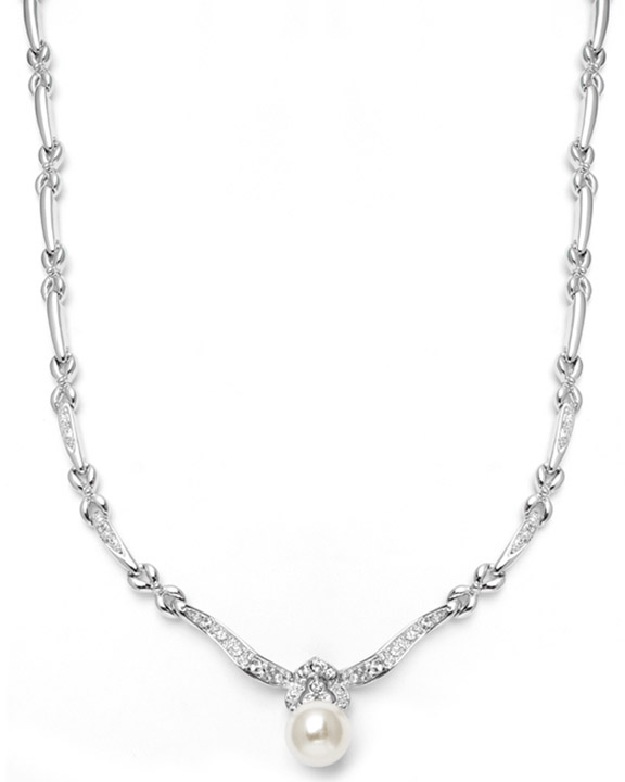 Mariell Sleek Designer Pearl & Cubic Zirconia Wedding Necklace