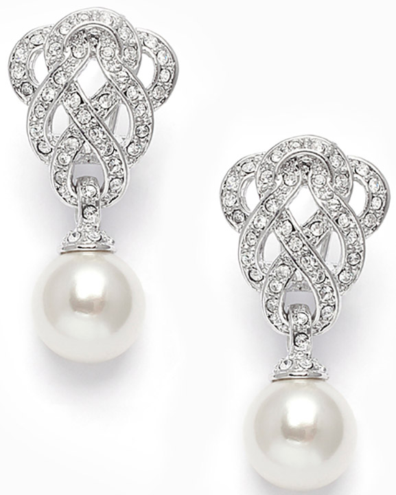 Mariell Cubic Zirconia Braided Wedding Earrings with Pearl Drop