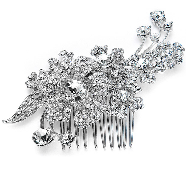 Mariell Bridal Or Prom Hair Comb with Austrian Crystal flowers