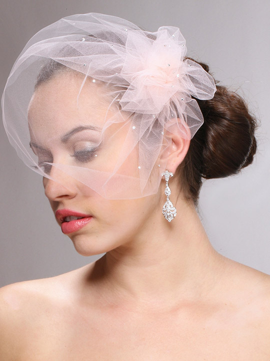 Mariell Tulle Birdcage Veil Bridal Cap with Side Pouf & Swarovski Crystals