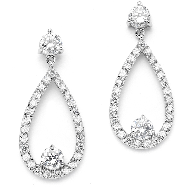 Mariell Cubic Zirconia Wedding Or Bridesmaid Drop Earrings