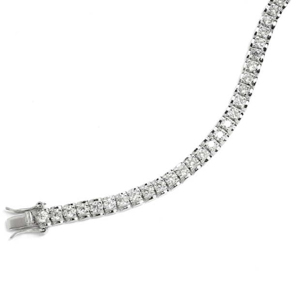 Mariell Cubic Zirconia Tennis Bracelet with Polished Frame